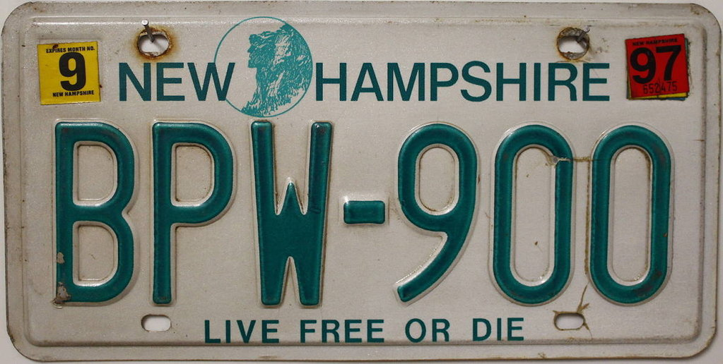 NEW HAMPSHIRE Live Free or Die - Nummernschild # BPW900 =