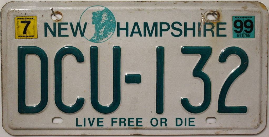 NEW HAMPSHIRE Live Free or Die - Nummernschild # DCU132 =