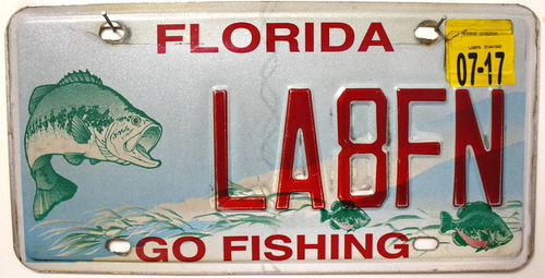 FLORIDA Go Fishing - Nummernschild # LA8FN =