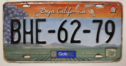 BAJA CALIFORNIA - Mexiko Nummernschild # BHE6279