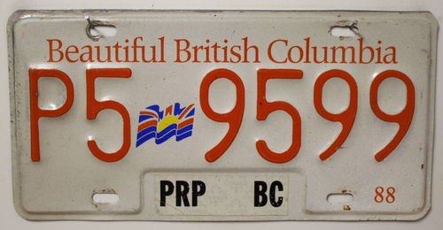 Beautiful BRITISH COLUMBIA Nummernschild (red/embossed) # P59599 =