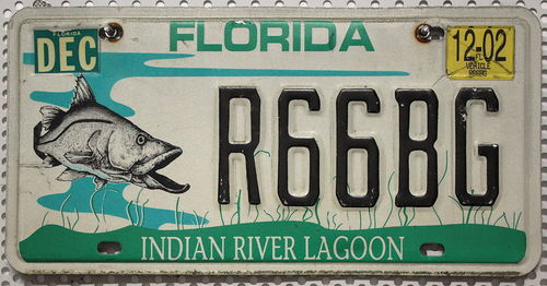 FLORIDA Indian River Lagoon - Nummernschild # R66BG =