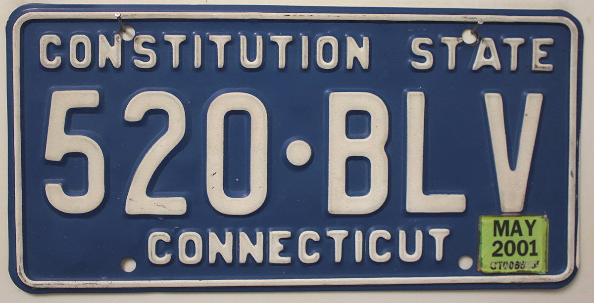 CONNECTICUT Constitution State - Nummernschild # 520BLV =