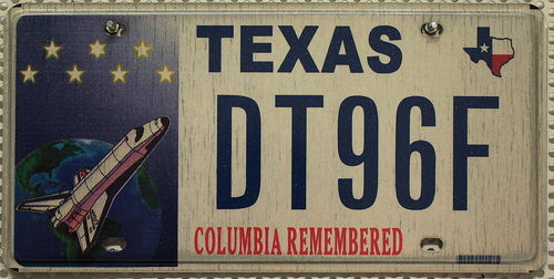 TEXAS Motiv Space Shuttle Columbia - Nummernschild # DT96F ...