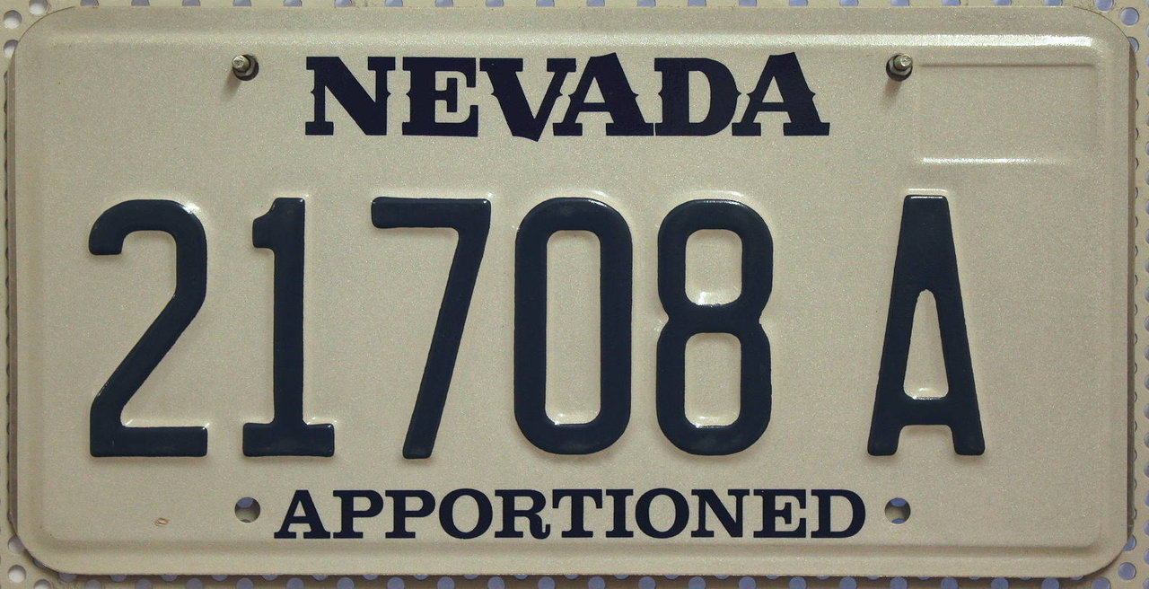 NEVADA Apportioned - Nummernschild # 21708A ...