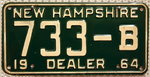 NEW HAMPSHIRE 1964 Dealer-Nummernschild # 733-B