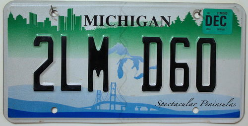 MICHIGAN Spectacular Peninsulas - Nummernschild # 2LMD60 =