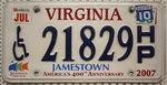 VIRGINIA Handicapped Person (HP) - Nummernschild # 21829