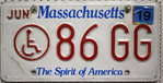 MASSACHUSETTS Handicapped Special - Nummernschild # 86GG =