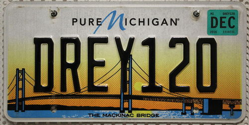 MICHIGAN The Mackinac Bridge - Nummernschild # DREY120 =