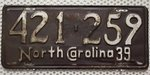 NORTH CAROLINA 1939 Oldtimer Nummernschild # 421259