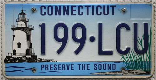CONNECTICUT Preserve The Sound - Nummernschild # 199LCU ...