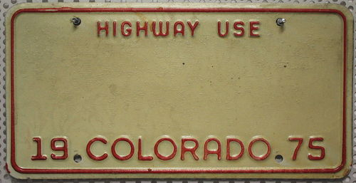Deko BLECHSCHILD - Colorado 1975 (Highway Use)