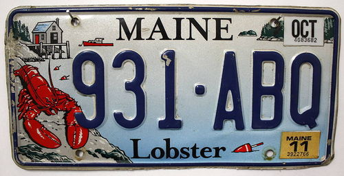 MAINE Lobster - Nummernschild # 931ABQ =