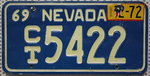 NEVADA 1969 1972 Oldtimer Nummernschild # CT5422
