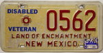 NEW MEXICO Disabled Veteran - Nummernschild # 0562