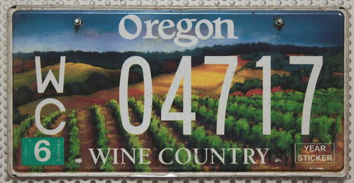 OREGON Wine Country - Nummernschild # 04717