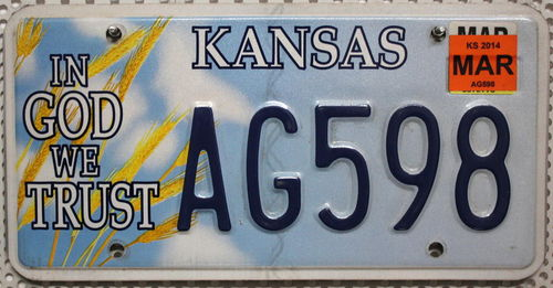 KANSAS In God We Trust - Nummernschild # AG598 =