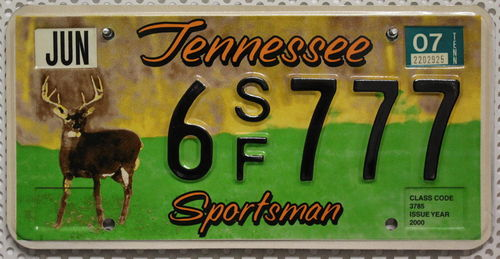 TENNESSEE Sportsman - Nummernschild # 6SF777 =
