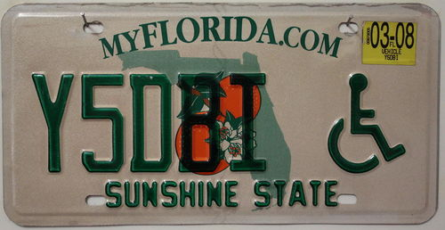 FLORIDA (Typ DISABLED) - Nummernschild # Y5DBI =