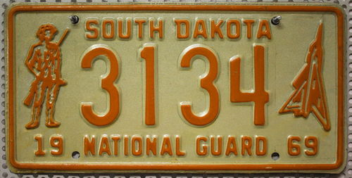 SOUTH DAKOTA National Guard 1969 - Nummernschild # 3134 ...