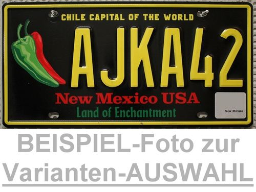 NEW MEXICO C.Capital of the World - Nummernschild # Schilder Auswahl